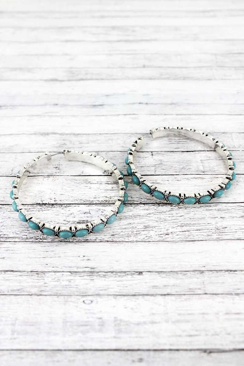 Turquoise Beaded Silvertone Hoop Earrings, 2""