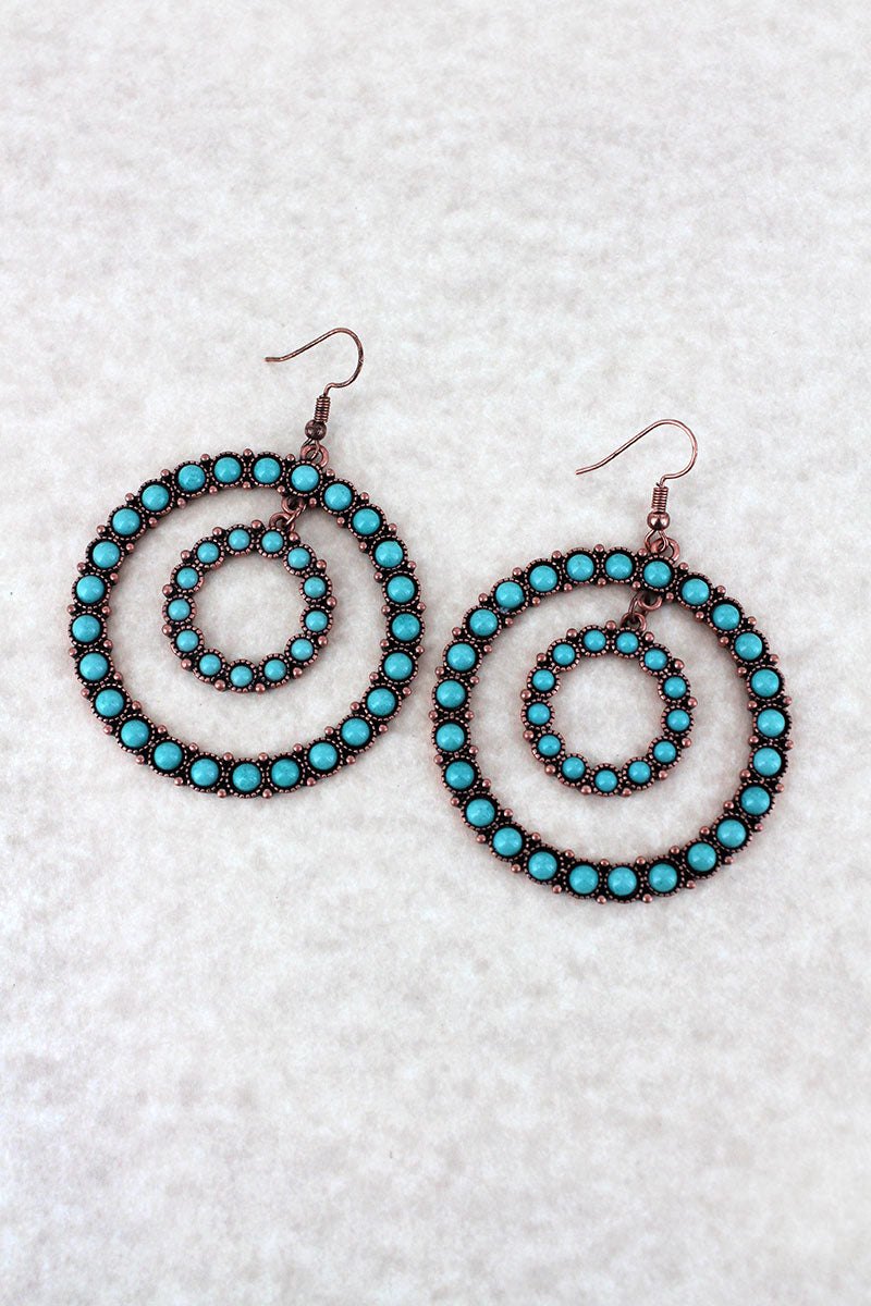 Turquoise Beaded Coppertone Double Hoop Earrings
