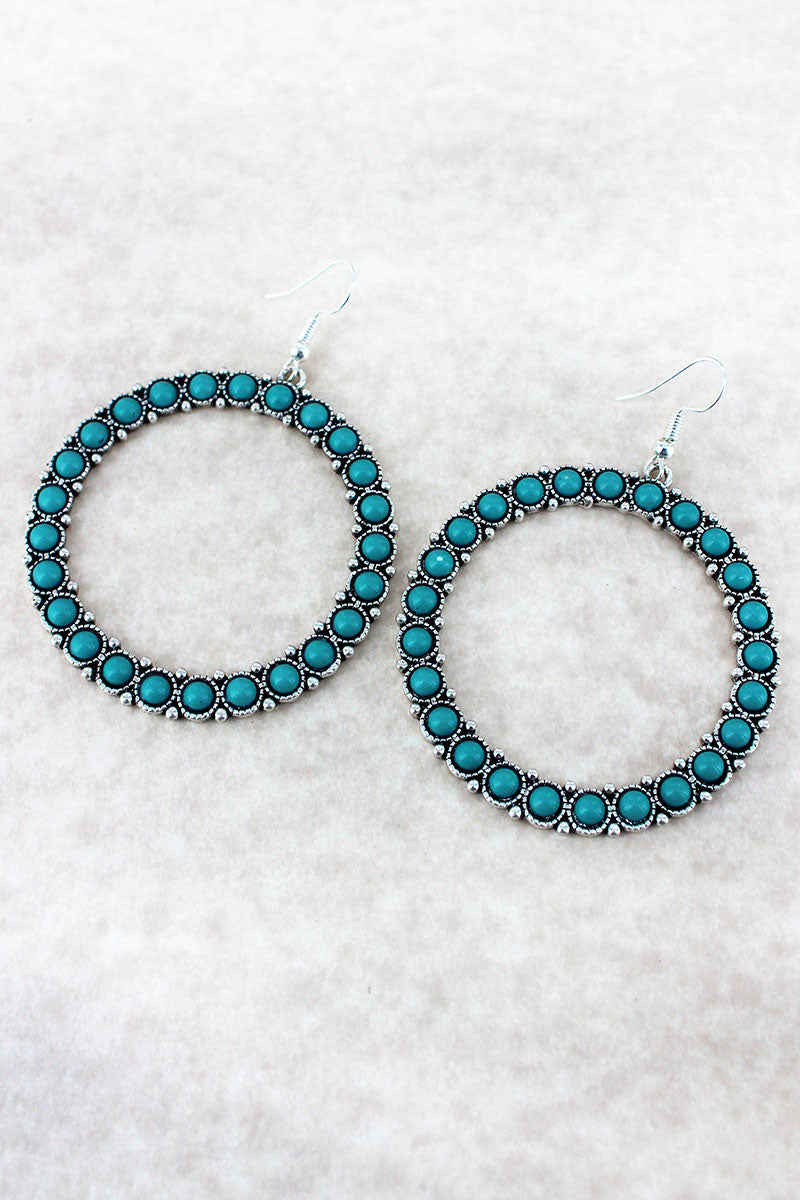 Silvertone and Turquoise Bead Loop Earrings
