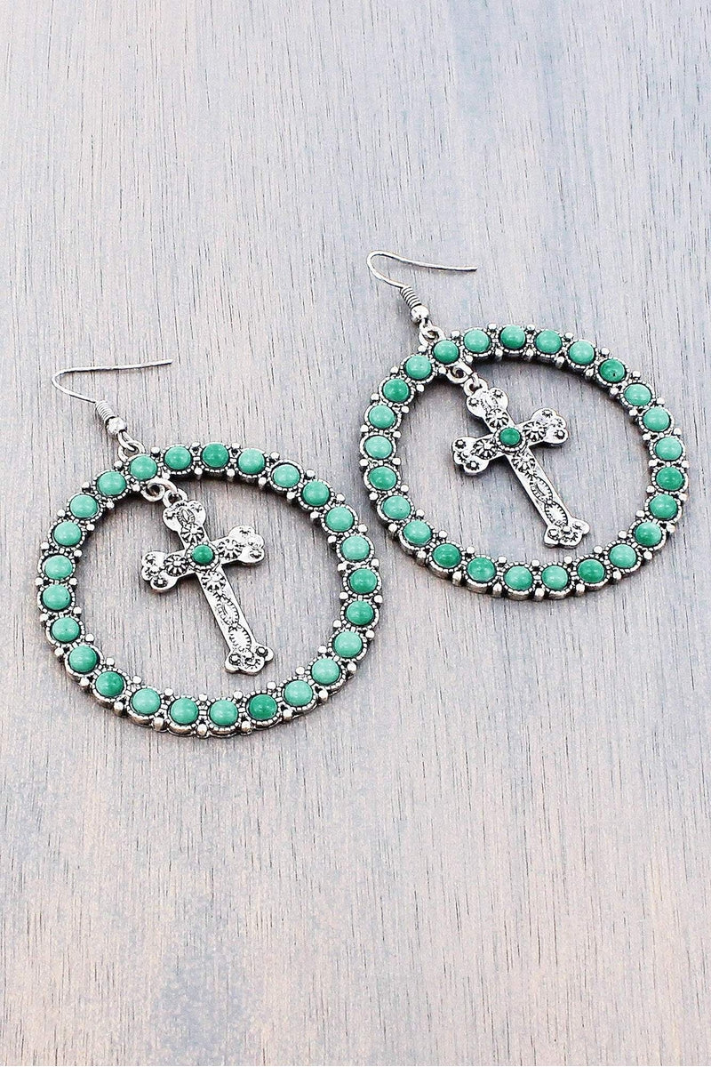 Turquoise Bead and Burnished Silvertone Dangling Cross and Hoop Earrings