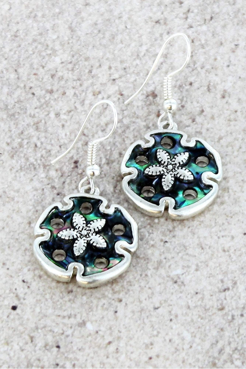 Silvertone and Abalone Sand Dollar Earrings