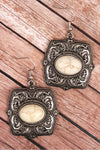Burnished Silvertone and Howlite Square Flower Earrings
