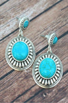 Western Burnished Silvertone and Turquoise Concho Post Earrings