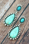 Western Burnished Silvertone and Turquoise Teardrop Post Earrings