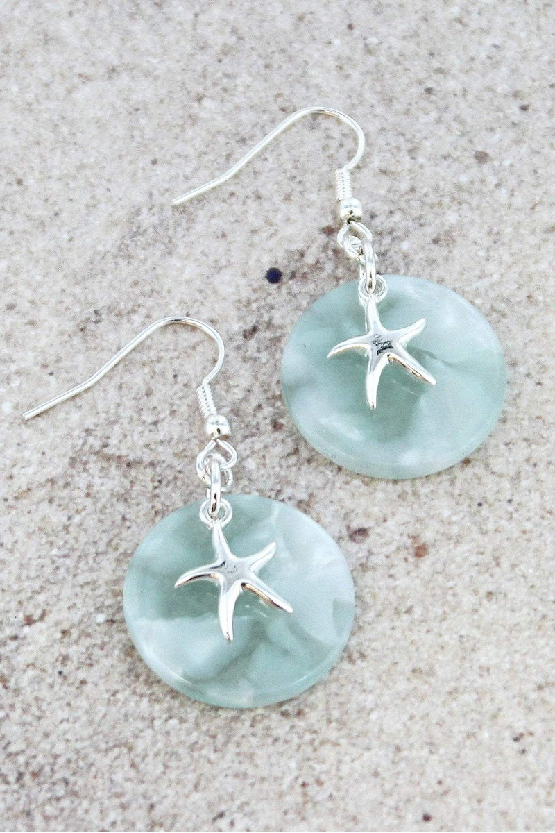 Silvertone Starfish Mint Marbled Disk Earrings