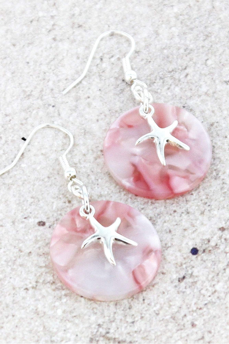 Silvertone Starfish Pink Marbled Disk Earrings