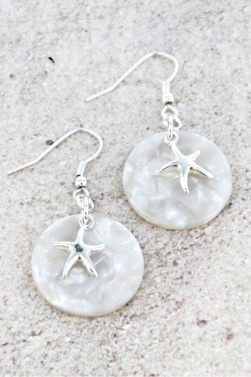 Silvertone Starfish White Marbled Disk Earrings