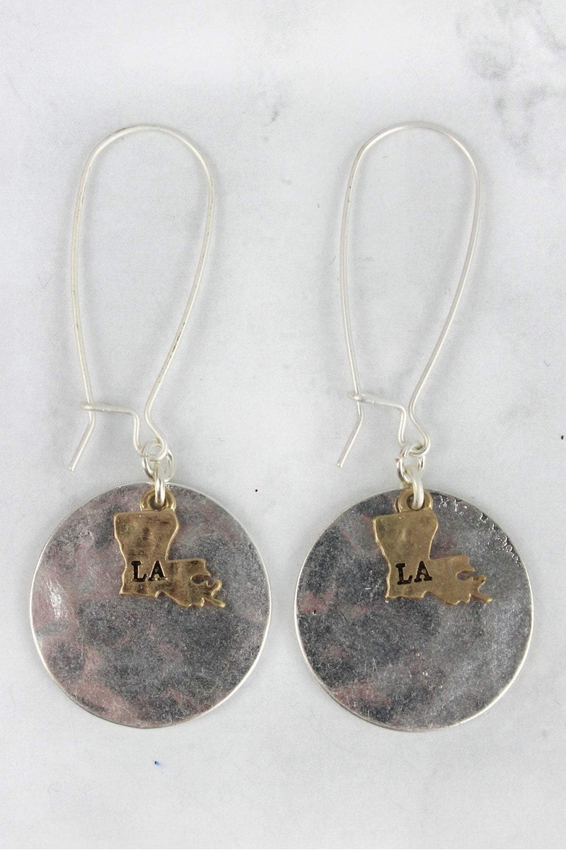 Worn Silvertone Disk with Goldtone Louisiana Charm Earrings