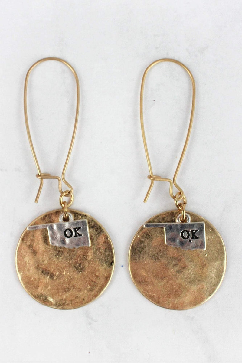 Worn Goldtone Disk with Silvertone Oklahoma Charm Earrings