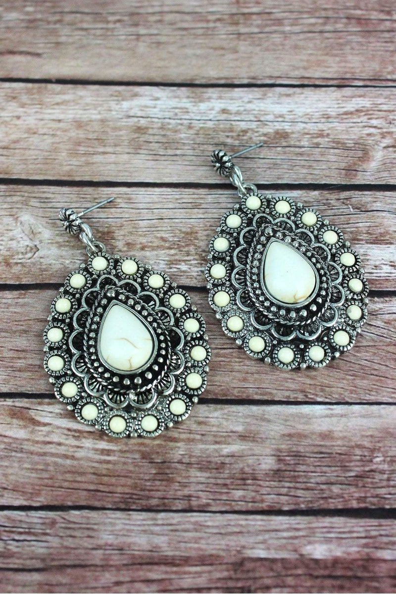Howlite Beaded Burnished Silvertone Teardrop Post Earrings