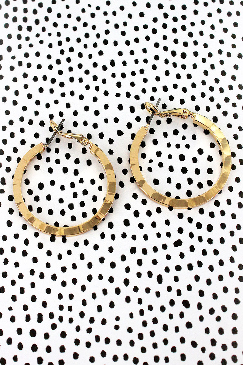 Goldtone Wavy Textured Hoop Earrings
