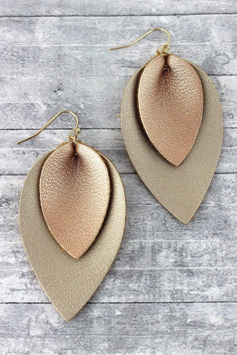 Rose Gold and Gold Layered Faux Leather Petal Earrings