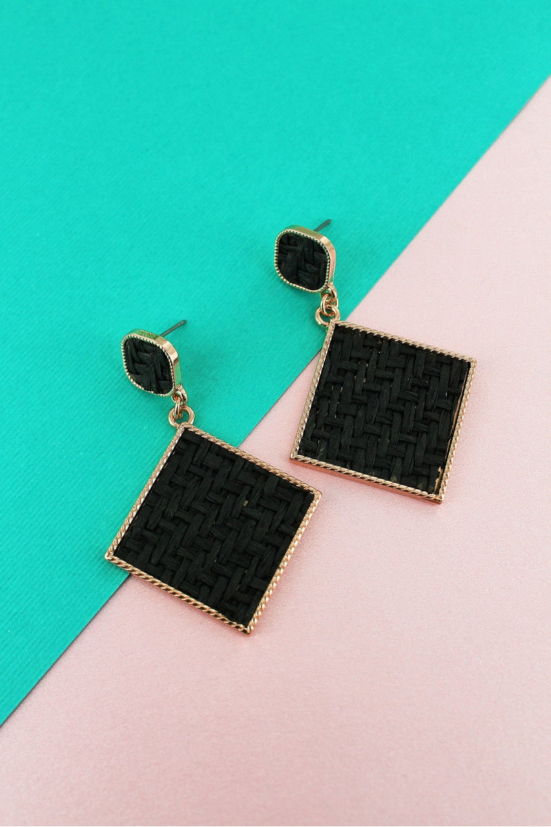 Black Rattan and Goldtone Diamond Drop Stud Earrings