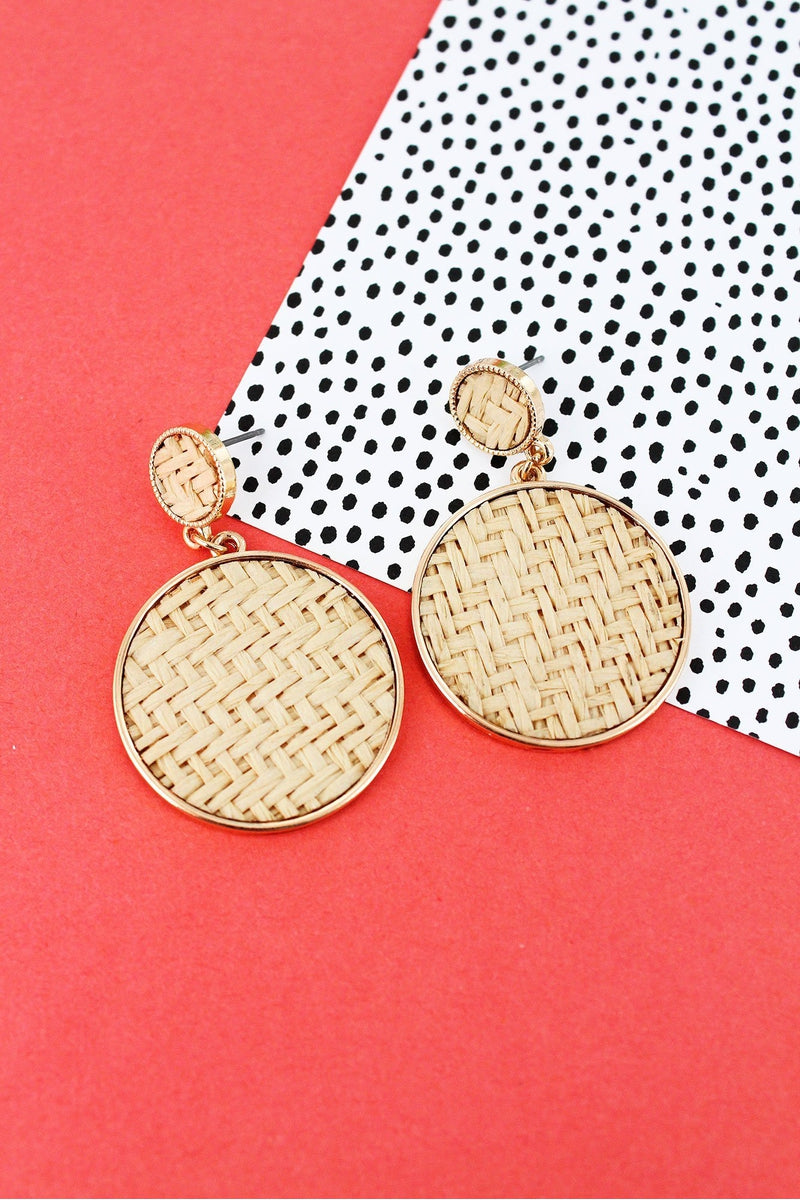 Ivory Rattan and Goldtone Disk Drop Stud Earrings