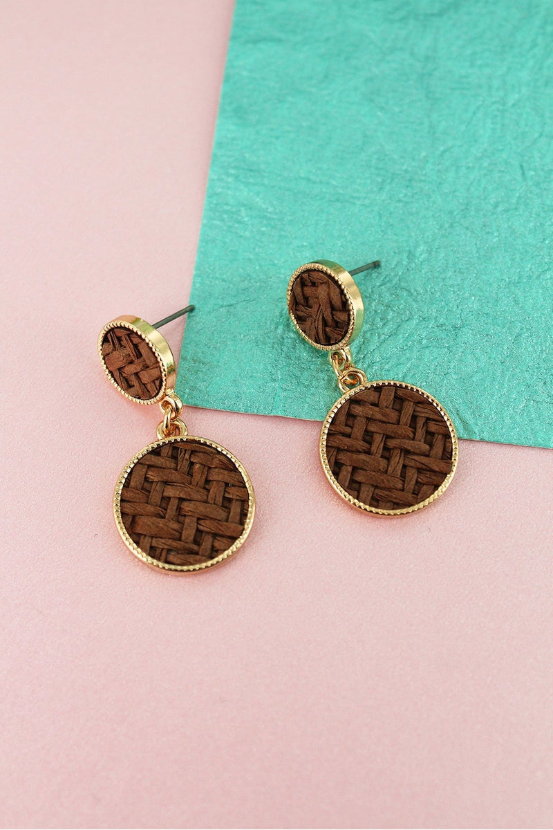 Dark Brown Rattan and Goldtone Double Disk Drop Earrings
