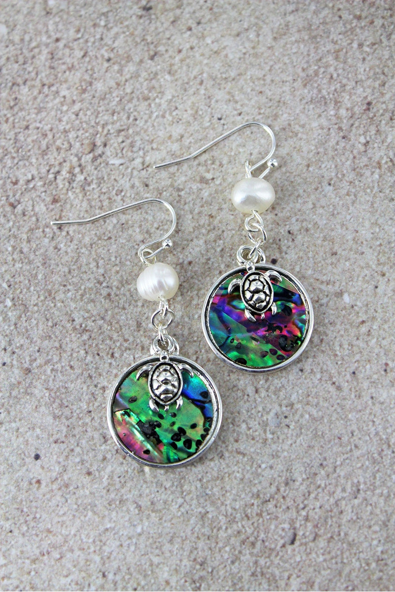 Pearl and Abalone Disk with Silvertone Turtle Charm Earrings