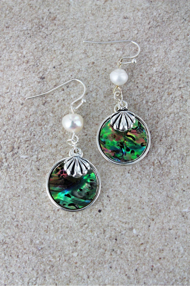 Pearl and Abalone Disk with Silvertone Seashell Charm Earrings