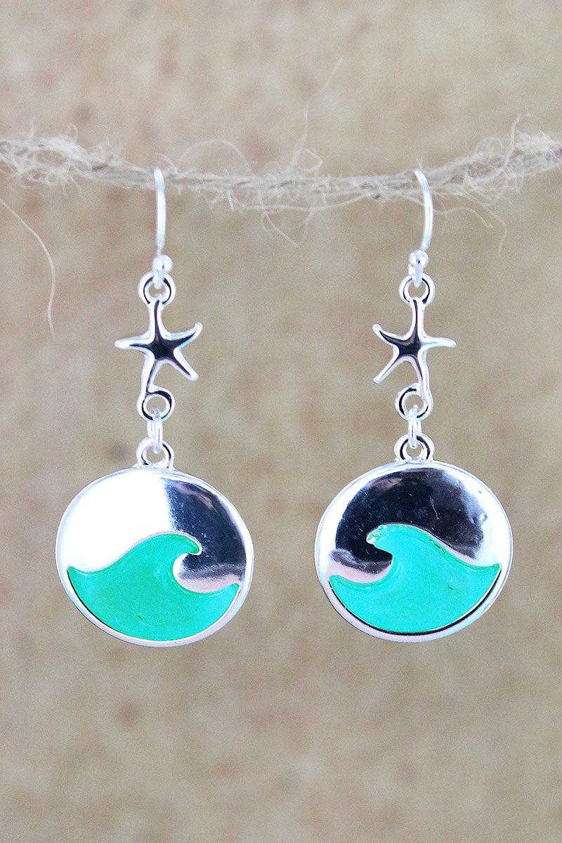 Silvertone and Aqua Sea Glass Starfish Wave Earrings