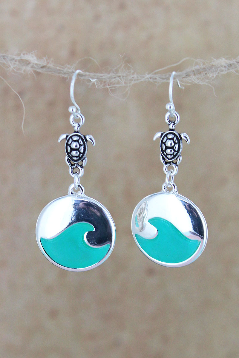 Silvertone and Aqua Sea Glass Turtle Wave Earrings