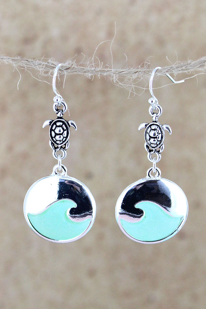 Silvertone and Turquoise Sea Glass Turtle Wave Earrings