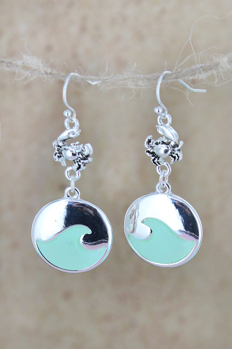 Silvertone and Turquoise Sea Glass Crab Wave Earrings