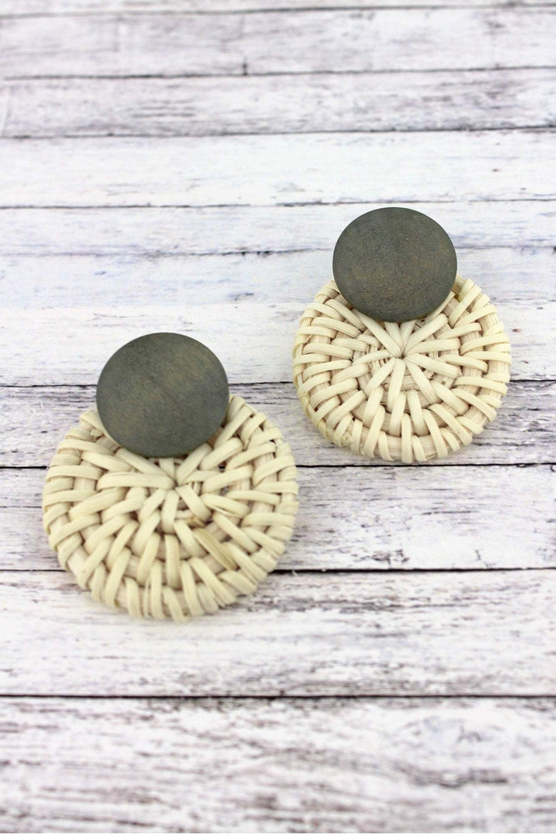 Gray Wood and Rattan Layered Disk Earrings