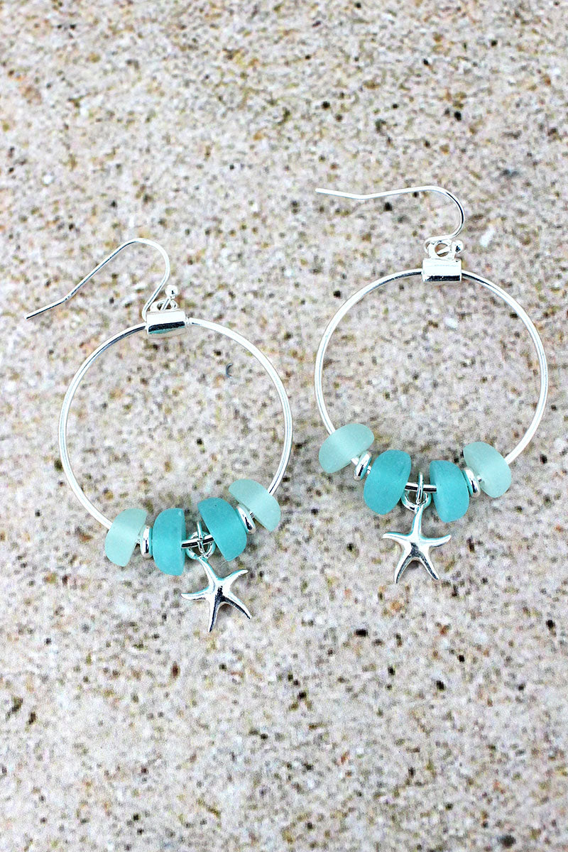 Sea Glass and Silvertone Starfish Charm Hoop Earrings
