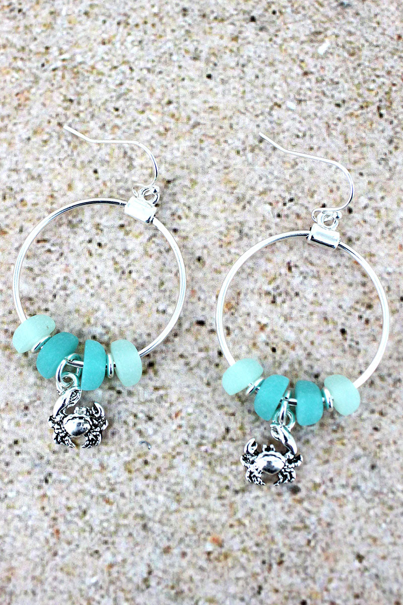 Sea Glass and Silvertone Crab Charm Hoop Earrings