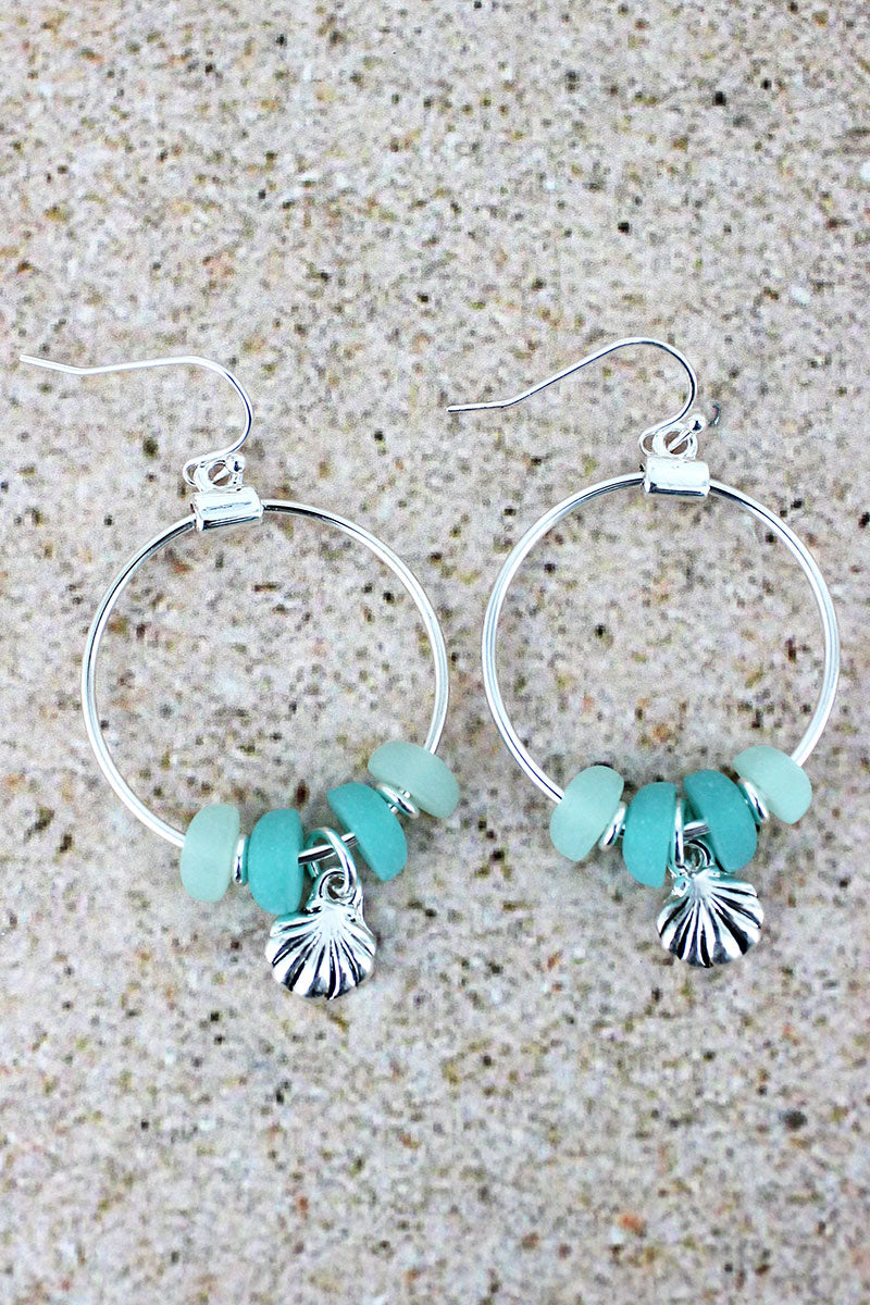 Sea Glass and Silvertone Seashell Charm Hoop Earrings