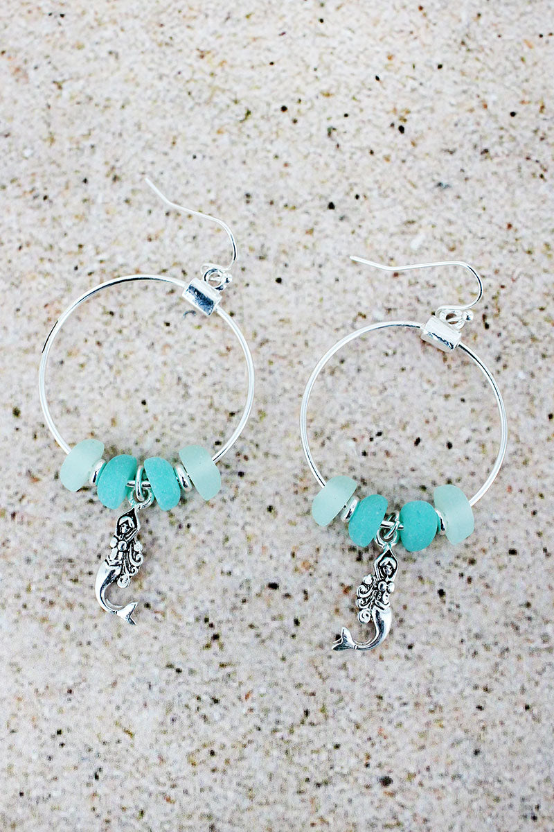 Sea Glass and Silvertone Mermaid Charm Hoop Earrings