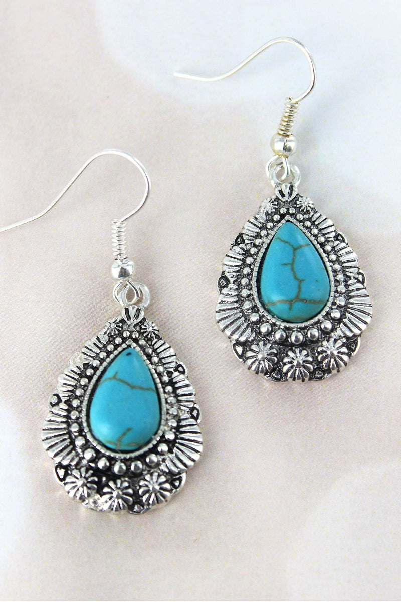 Western Silvertone and Turquoise Bead Teardrop Earrings
