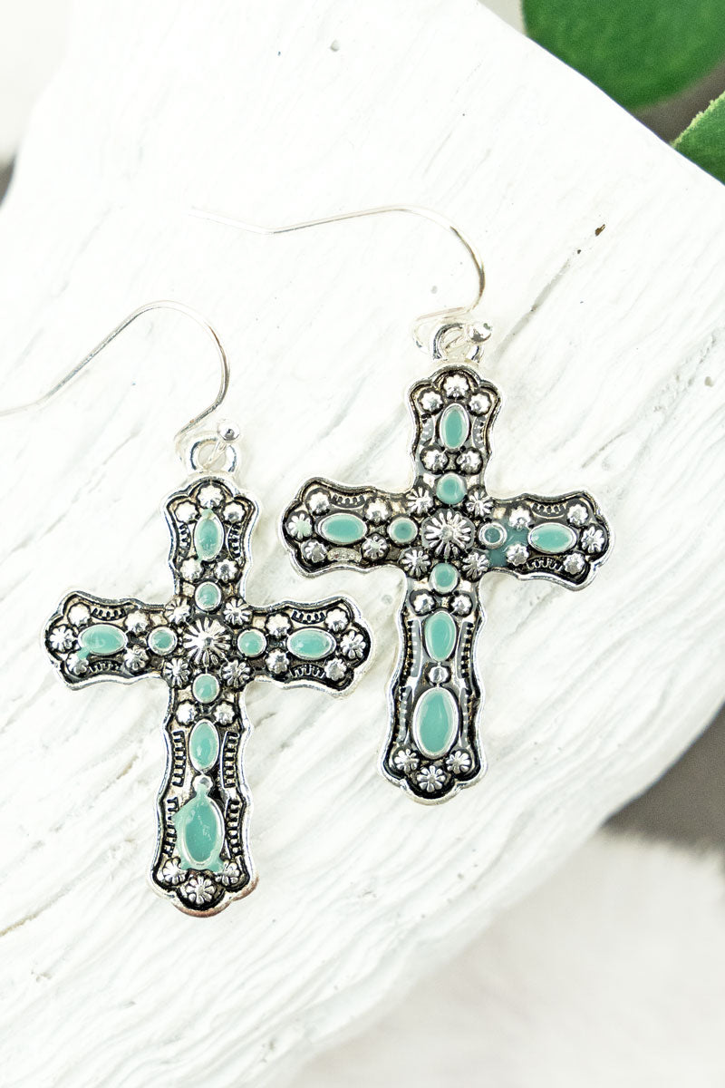 Antique Silvertone and Turquoise Cross Earrings