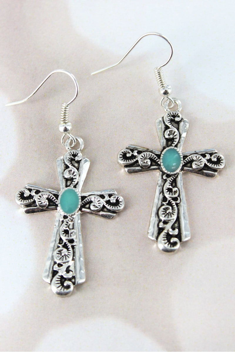 Silvertone Scroll and Turquoise Cross Earrings