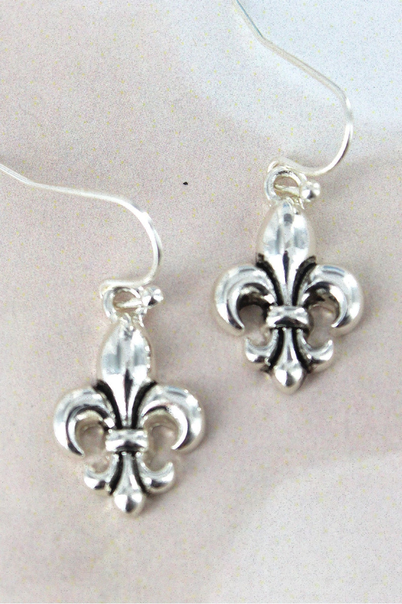 Antique Silvertone Fleur de Lis Earrings