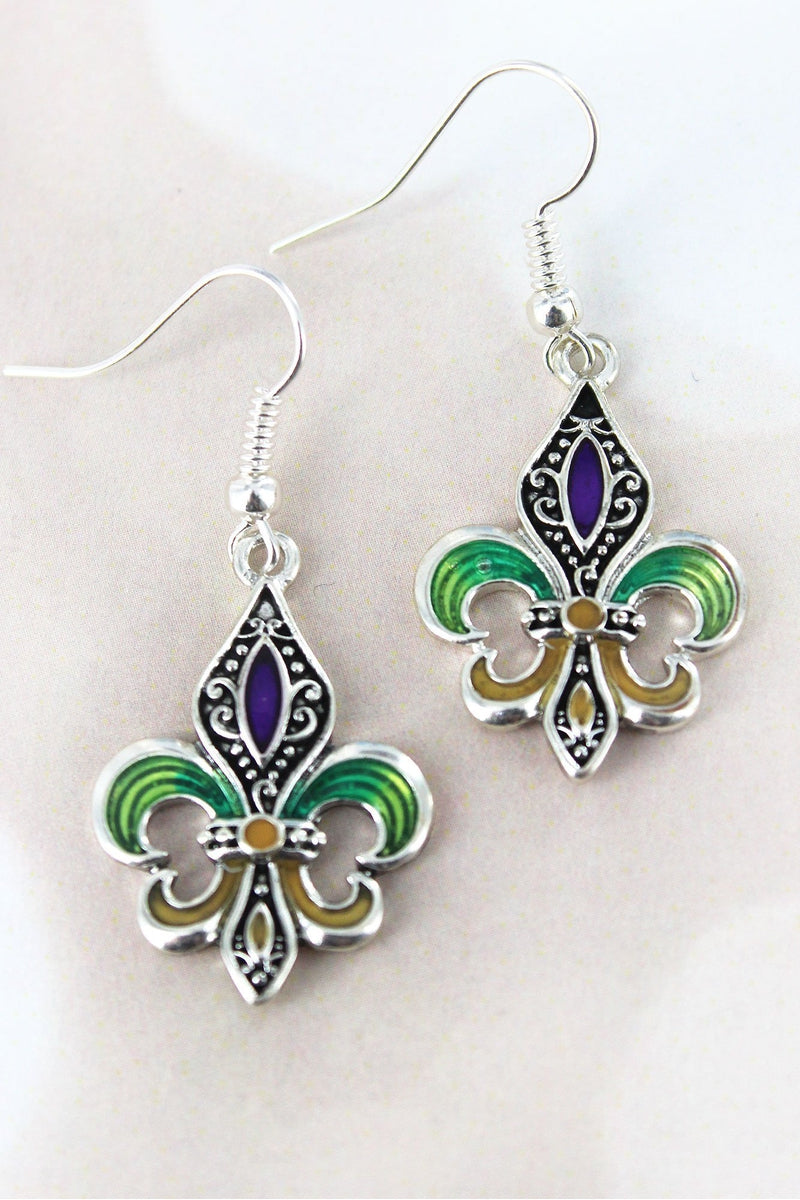 Mardi Gras Fleur de Lis Earrings