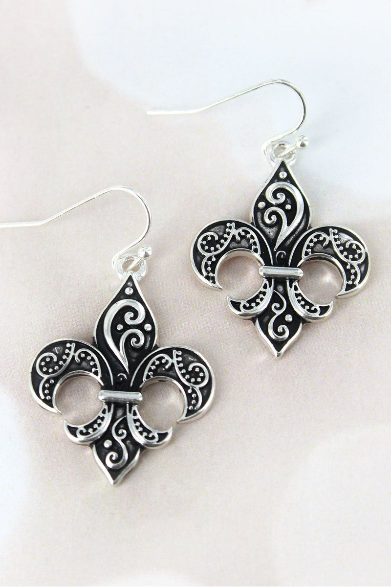 Silvertone Scroll Fleur de Lis Earrings
