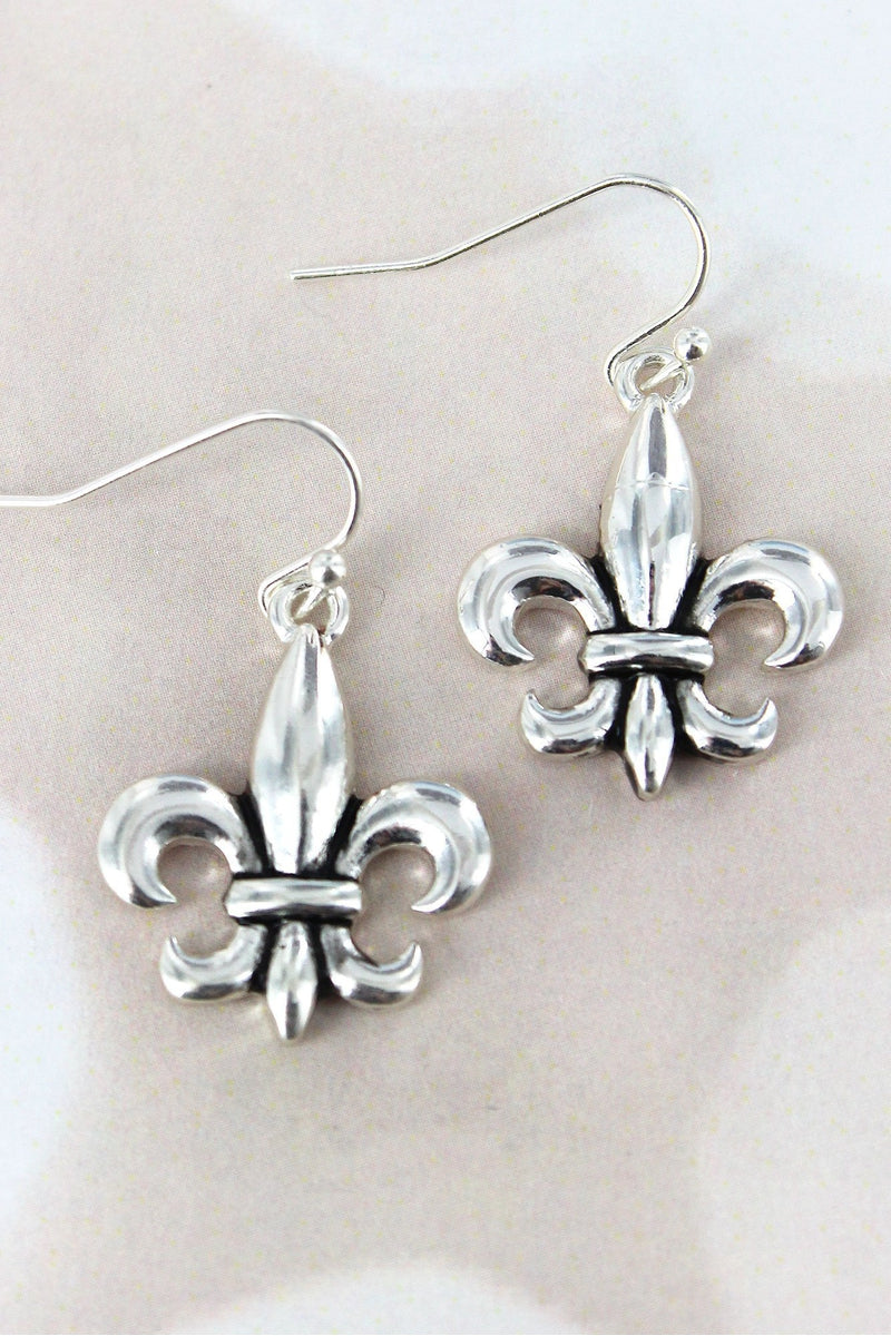 Silvertone Fleur de Lis Earrings