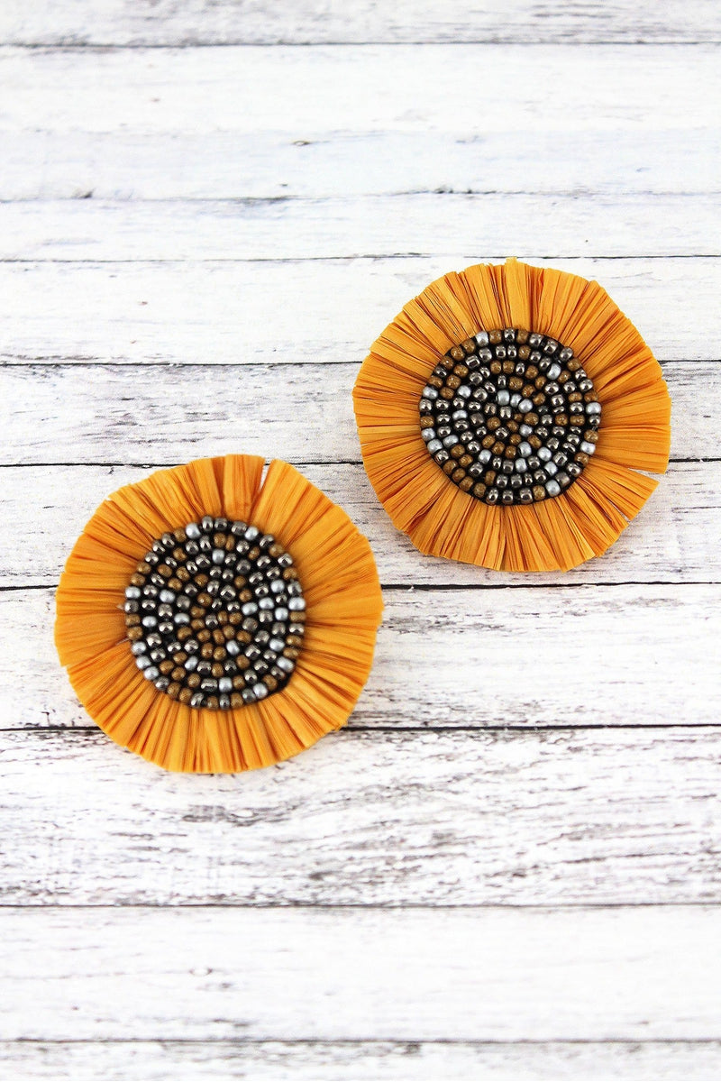Yellow Raffia and Seed Bead Flower Earrings