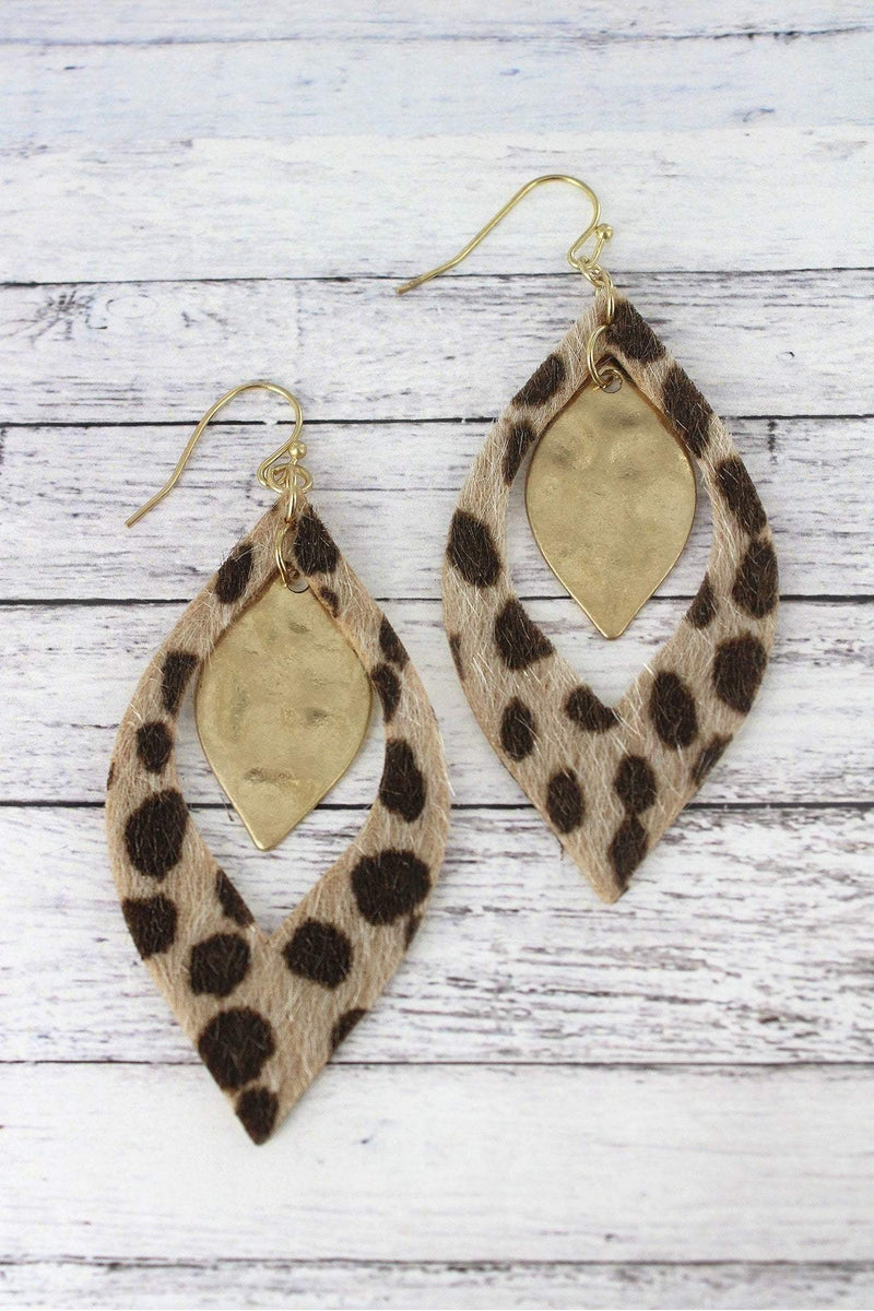 Brown Cheetah and Goldtone Layered Marquise Earrings