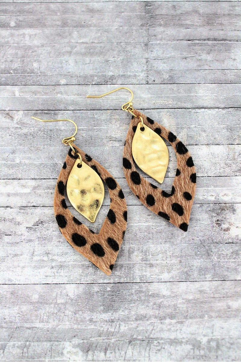 Dark Brown Cheetah and Goldtone Layered Marquise Earrings