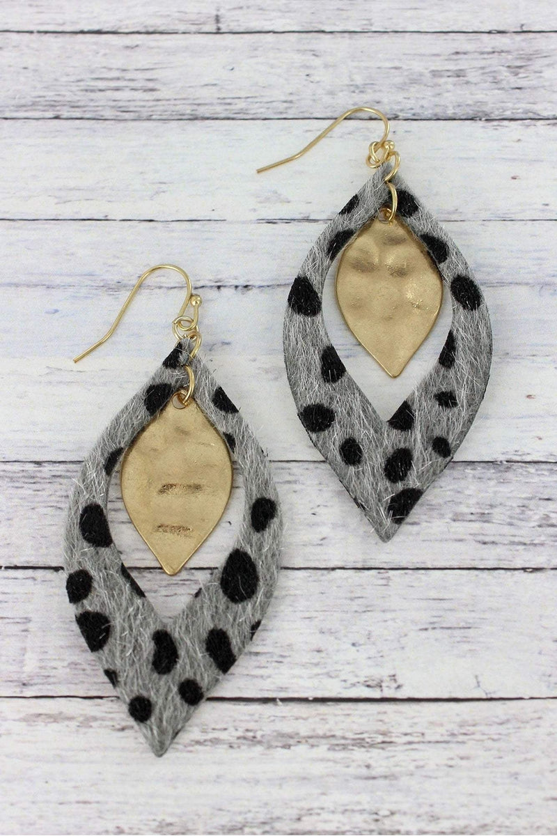 Gray Cheetah and Goldtone Layered Marquise Earrings