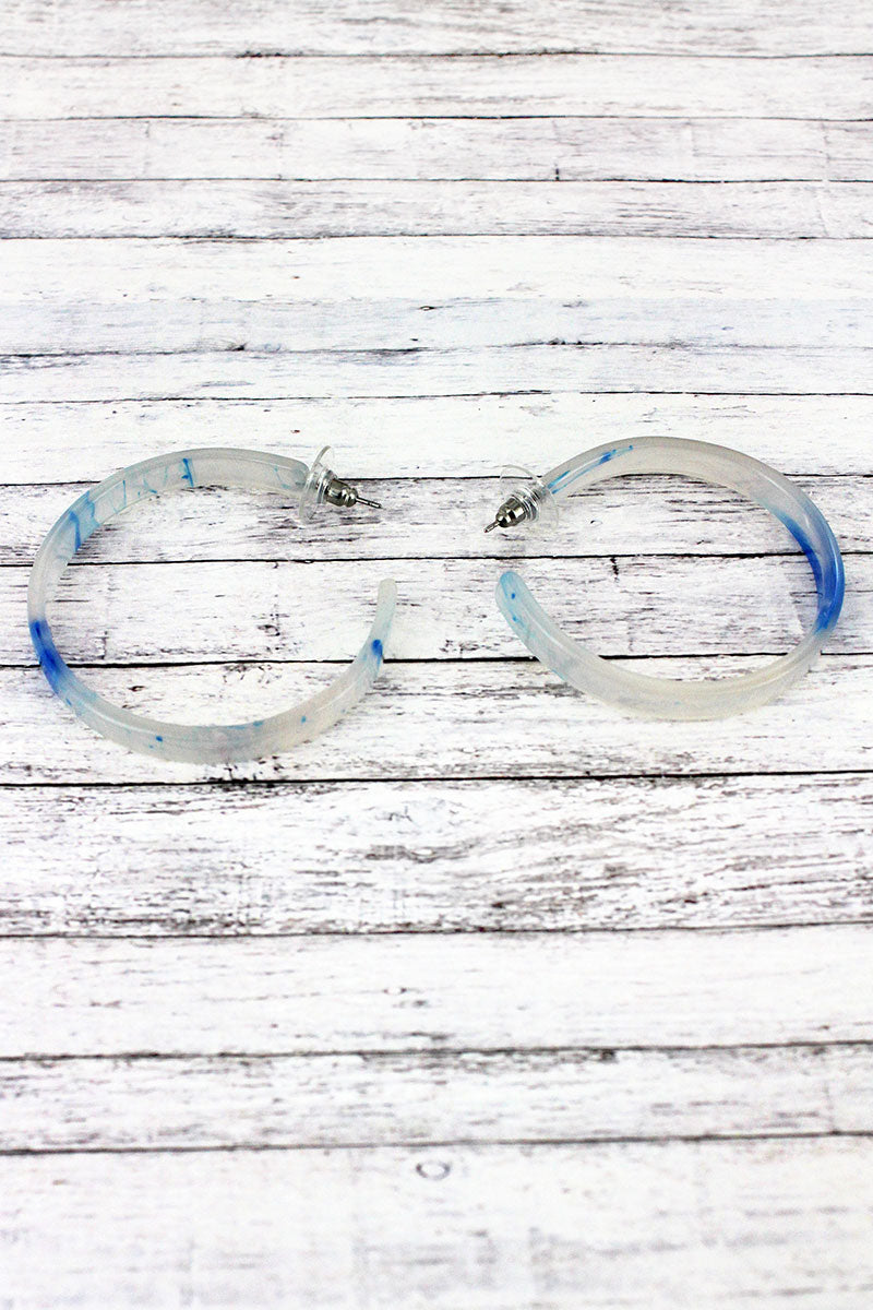 Blue Splatter Hoop Earrings