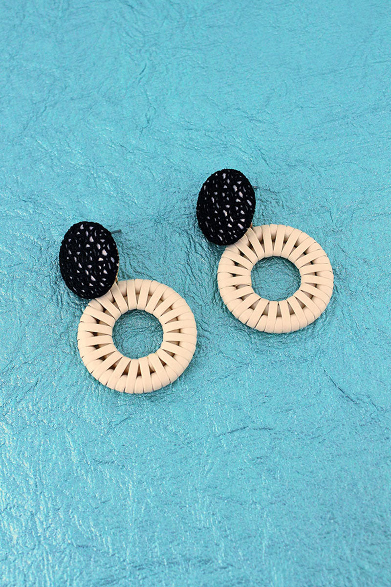 Black Woven Disk and Rattan Circle Earrings
