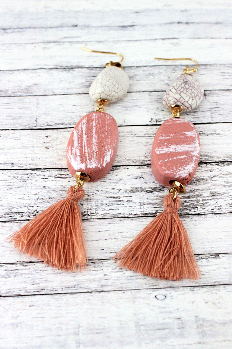 Dangling Light Pink Wood and Crackled Bead Tassel Earrings