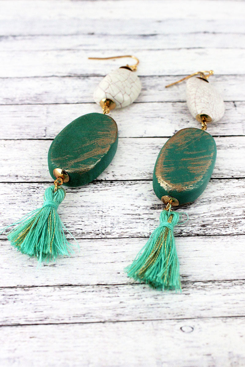 Dangling Mint Wood and Crackled Bead Tassel Earrings