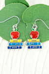 Colorful Apple and School Books Earrings