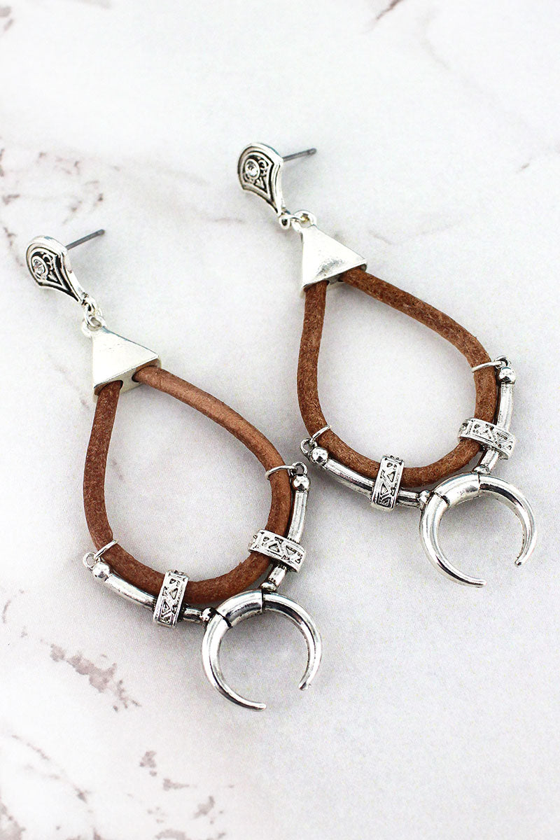 Faux Leather and Silvertone Double Horn Teardrop Earrings