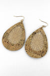 Natural Cork and Goldtone Filigree Teardrop Earrings