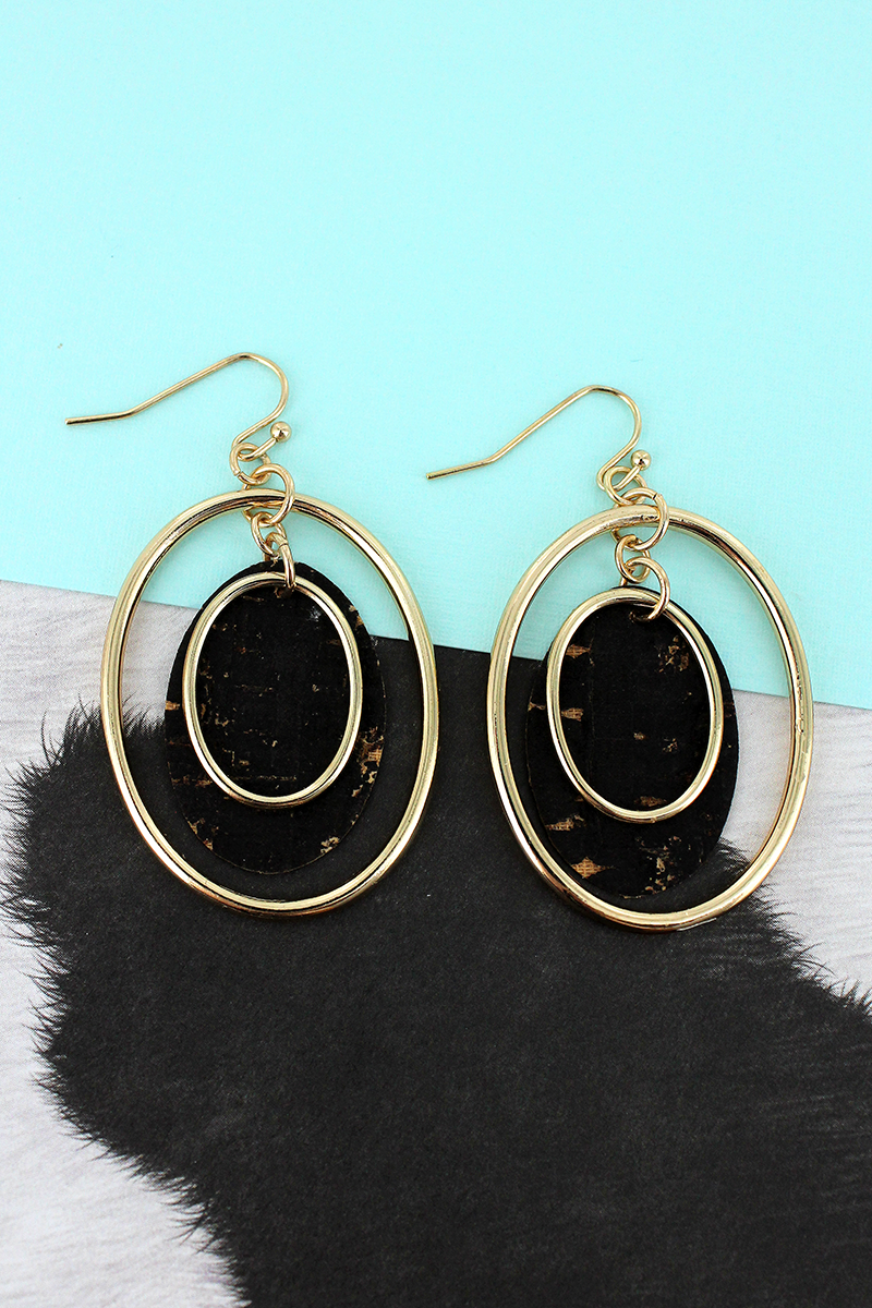 Goldtone and Black Cork Layered Oval Earrings