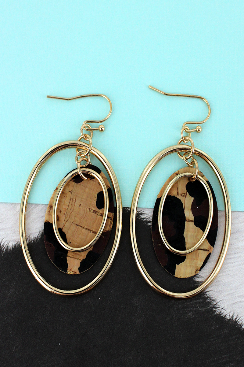 Goldtone and Leopard Cork Layered Oval Earrings